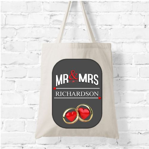 Personalised Natural Soft Tote Bag N6 - Mr & Mrs Anyname